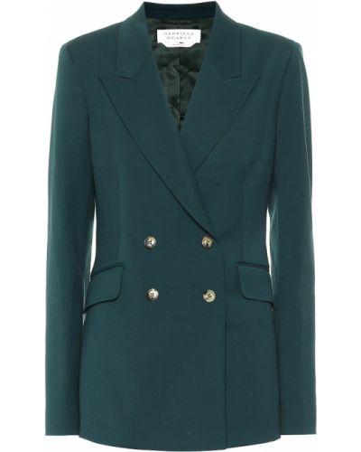 Шерстяной зеленый классический пиджак стрейч Gabriela Hearst