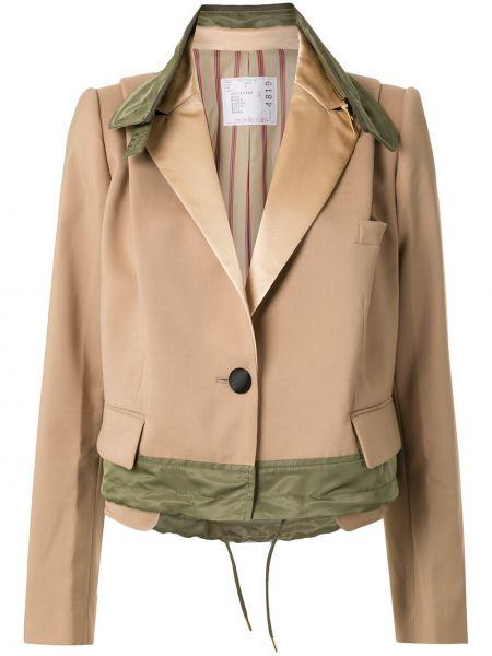 Шерстяной коричневый короткая куртка с карманами Sacai