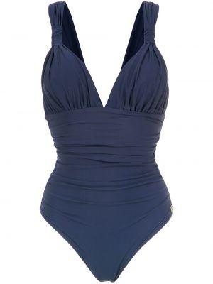 Niebieski strój kąpielowy z dekoltem w serek Brigitte