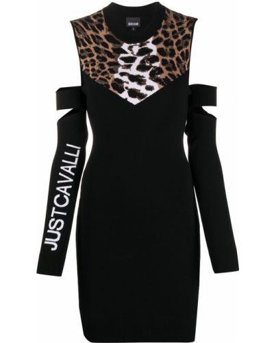Облегающее открытое черное платье мини Just Cavalli