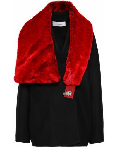 Черное кашемировое пальто с воротником Chalayan