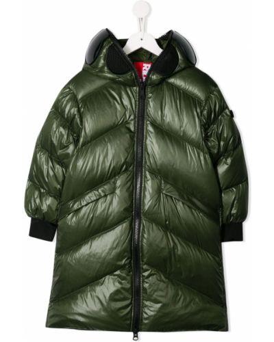 Зеленое пуховое длинное пальто с манжетами эластичное Ai Riders On The Storm Kids