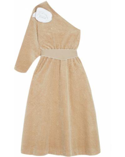 Бежевое платье на одно плечо вельветовое A.w.a.k.e.