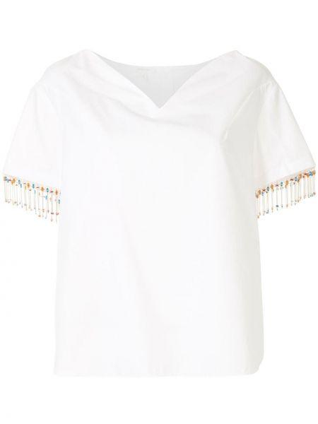 Белая прямая футболка на пуговицах из вискозы Delpozo