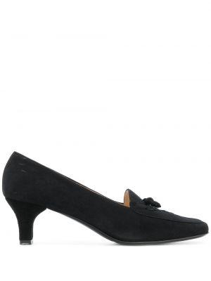 Массивные черные туфли на низком каблуке с квадратным носком с вышивкой Salvatore Ferragamo Pre-owned