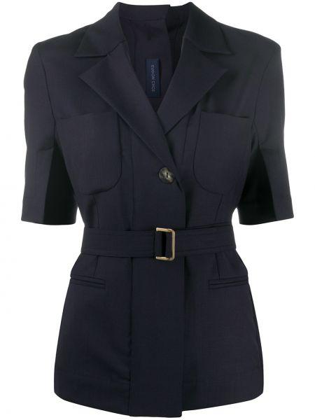 Синий короткая куртка с поясом с короткими рукавами Eudon Choi