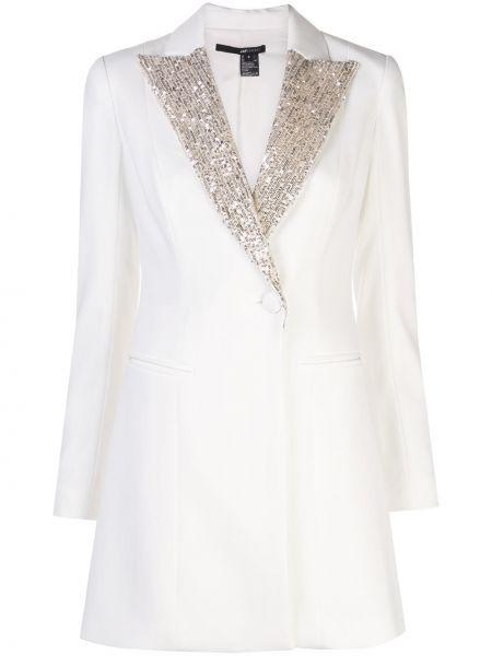Белое платье с воротником с лацканами с камнями Jay Godfrey