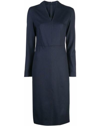 Приталенное платье миди - синее Piazza Sempione