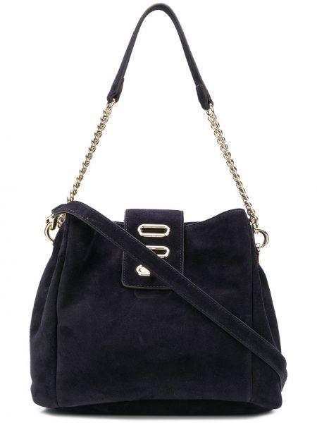 С ремешком синяя парусиновая сумка на цепочке Tila March