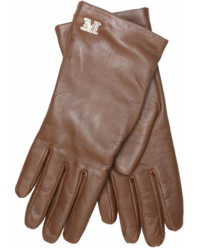 Brązowe rękawiczki skorzane Max Mara