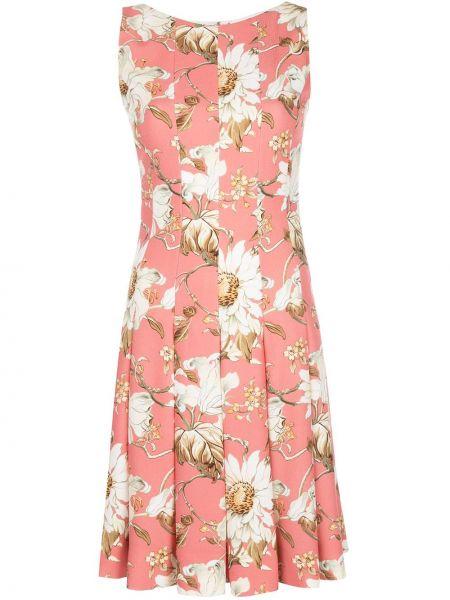 Розовое платье без рукавов с вырезом на молнии Oscar De La Renta