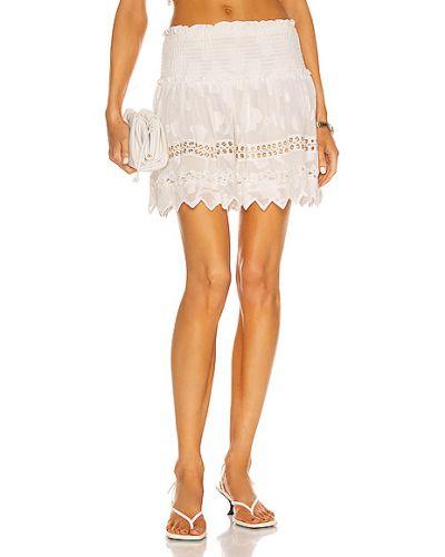 Белая юбка мини из вискозы с вышивкой Hemant And Nandita