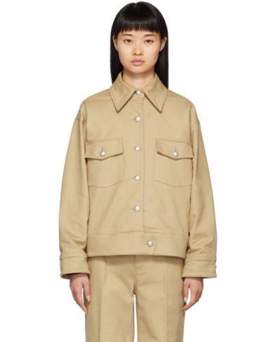 С рукавами ватная коричневая длинная куртка Won Hundred