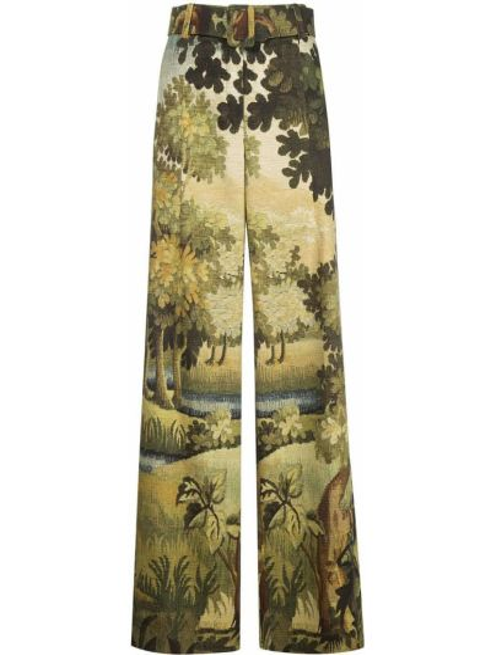 Свободные брюки с карманами свободного кроя с высокой посадкой на молнии Oscar De La Renta