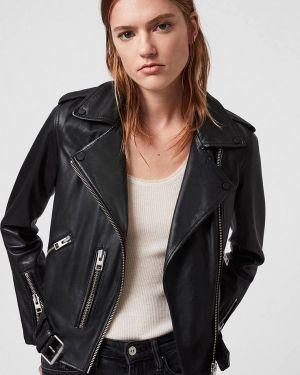 Кожаная куртка - черная Allsaints