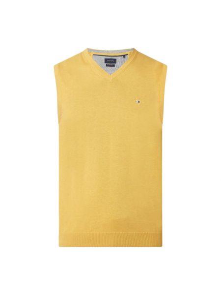 Żółta kamizelka bawełniana z dekoltem w serek Christian Berg Men