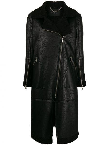 Czarny płaszcz z długimi rękawami John Richmond