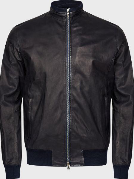 Кожаная куртка на молнии - черная Barba Napoli