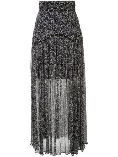 Черная расклешенная ажурная с завышенной талией юбка макси Thurley