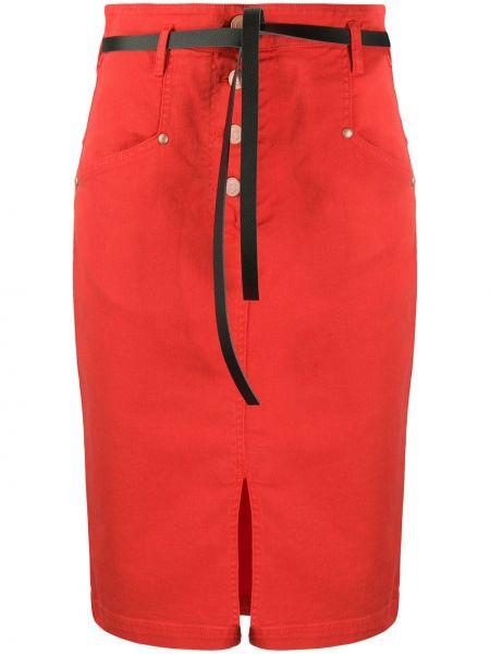 Джинсовая юбка на пуговицах с завышенной талией 8pm