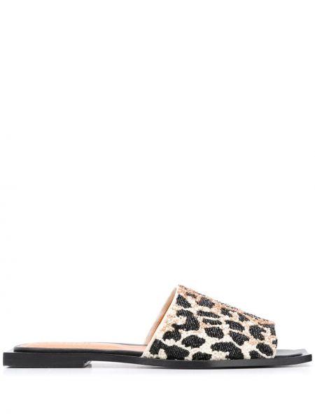 Brązowe sandały skorzane peep toe Ganni