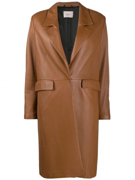 Кожаное с рукавами однобортное пальто с подкладкой Dorothee Schumacher