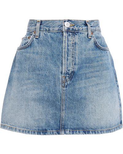 Niebieska spódnica mini z paskiem bawełniana Re/done