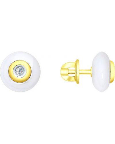 Золотые серьги керамические серьги-гвоздики Sokolov