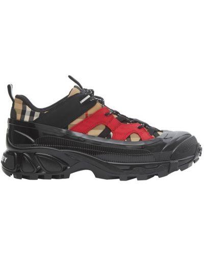 Комбинированные массивные бежевые кроссовки Burberry