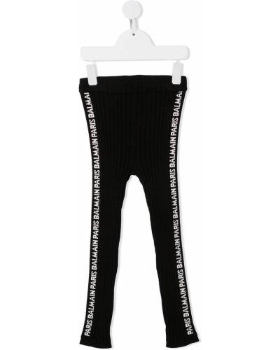 Czarne legginsy z wiskozy z printem Balmain Kids