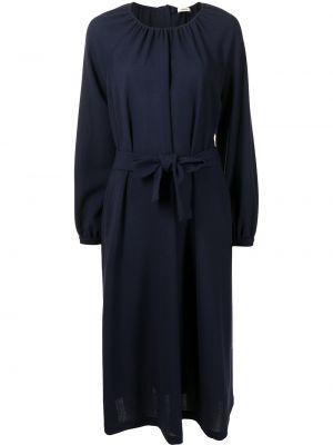 С рукавами синее платье макси с поясом Odeeh