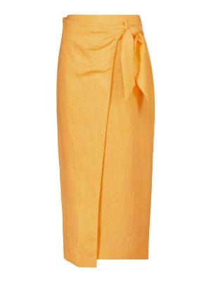 Оранжевая льняная юбка карандаш классическая Nanushka