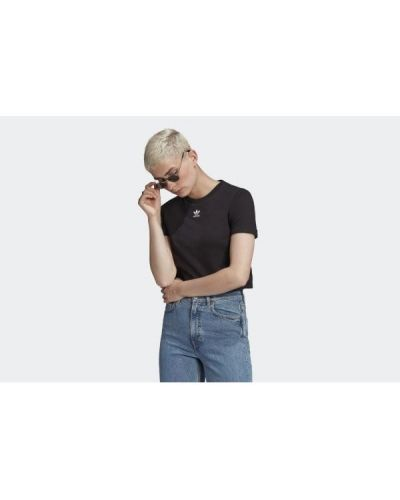 Klasyczny czarny crop top bawełniany Adidas