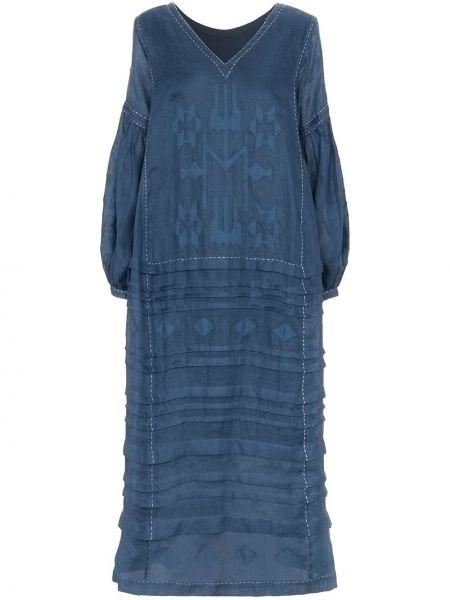 Синее платье миди с вышивкой с V-образным вырезом на молнии Vita Kin