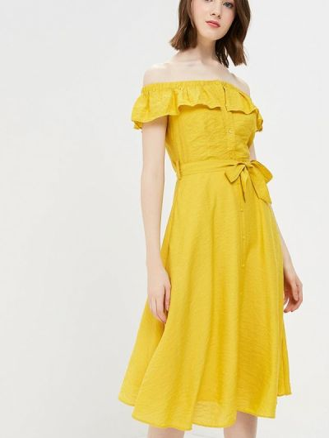 Платье с открытыми плечами - желтое Yumi