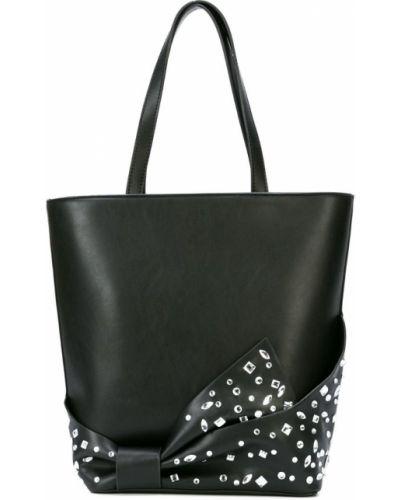 Черная сумка-тоут с бантом Christian Siriano
