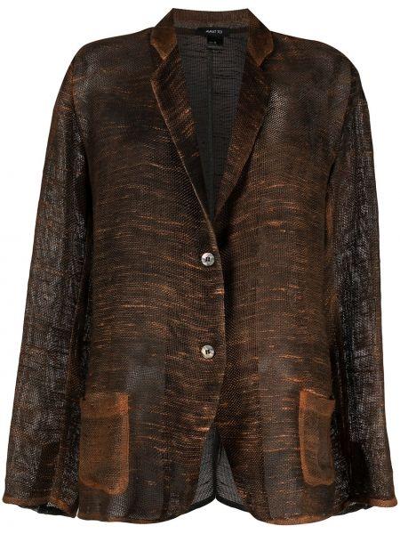 Льняной черный удлиненный пиджак с накладными карманами Avant Toi