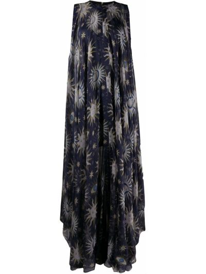 Шелковое синее платье без рукавов Maison Rabih Kayrouz