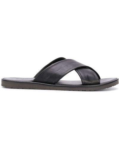 Otwarty z paskiem czarny skórzany sandały Scarosso