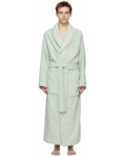 Zielony długi szlafrok bawełniany z długimi rękawami Tekla