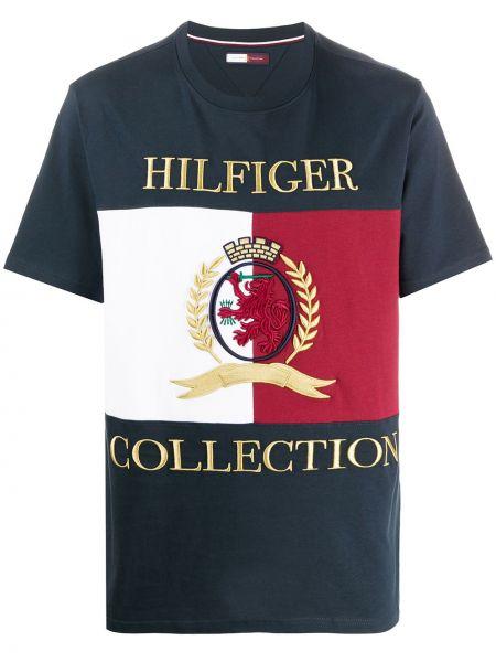 Прямая хлопковая синяя футболка с вышивкой Hilfiger Collection