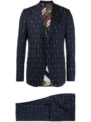 Шерстяной костюмный костюм на пуговицах с карманами Gucci