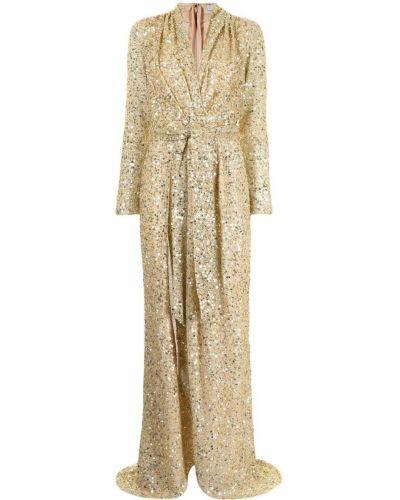 Złota sukienka długa z długimi rękawami z dekoltem w serek Badgley Mischka