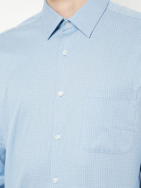 Синяя классическая рубашка с воротником с карманами на пуговицах D'urban