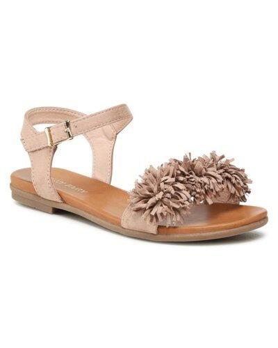 Beżowe sandały z frędzlami płaska podeszwa Ccc