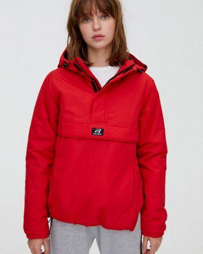 Утепленная куртка осенняя красная Pull&bear
