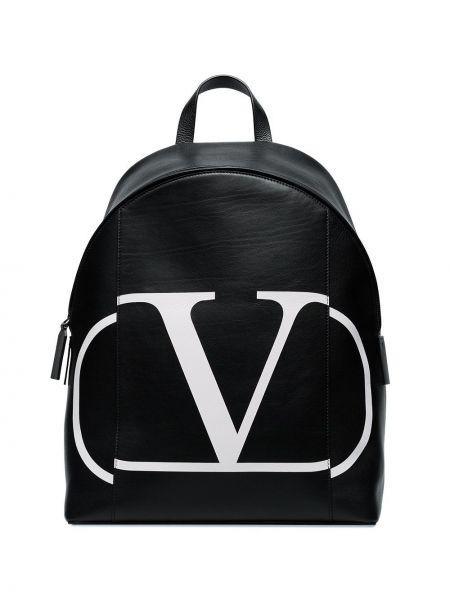 Czarny plecak skórzany z printem Valentino