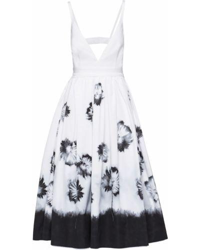 Белое платье с принтом Prada
