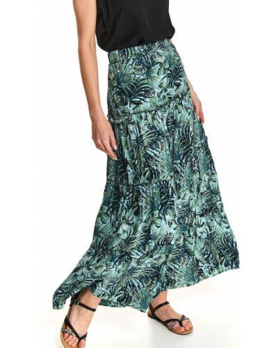 Niebieska spódnica maxi z wiskozy w kwiaty Top Secret