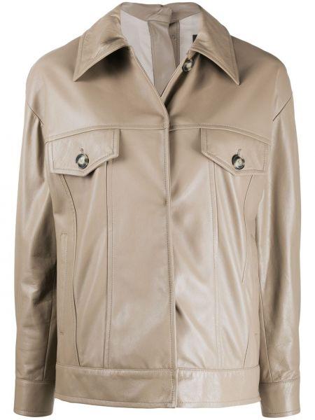 Кожаная короткая куртка с воротником с потайной застежкой Simonetta Ravizza